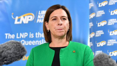 """Queensland LNP Leader Deb Frecklington says the words """"renewable energy"""" and """"climate change"""" but opposes the renewable target."""