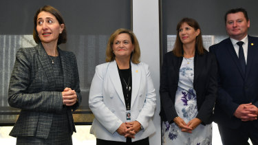 NSW Premier Gladys Berejiklian introduces new members during a joint party room meeting ahead of the commencement of NSW Parliament sitting on Tuesday.