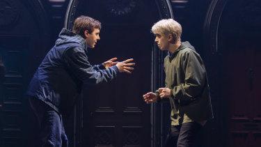 Sean Rees-Wemyss, left, as Albus Potter and Nyx Calder as Scorpius Malfoy.