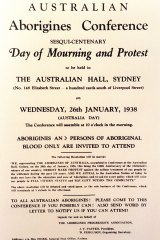 A flyer advertising the 1938 Day of Mourning at the old Australian Hall - Australia's first civil rights protest.