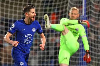 Jorginho celebrates scoring Chelsea's second goal in the 2-1 win over Leicester at Stamford Bridge.