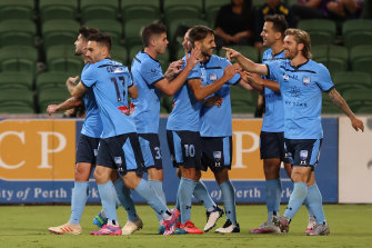 The Sky Blues celebrate Bobo's equaliser just after the hour mark in Perth.