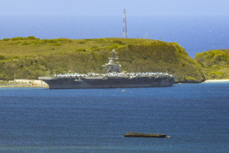The USS Theodore Roosevelt docked in Guam.