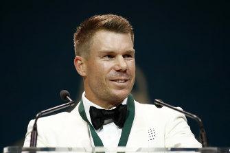 David Warner won the biggest individual prize in Australian men's cricket on Monday night.
