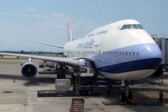 A 747 at the Taoyuan International Airport, which receives flights for travellers to Taipei and Taiwan.