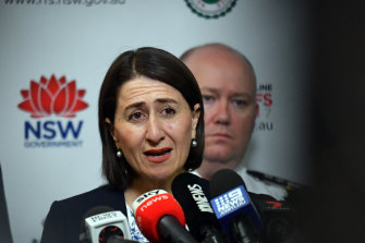 Premier Gladys Berejiklian defends the stadium cost blow-out at a press conference at the Rural Fire Service headquarters in Sydney on Wednesday.