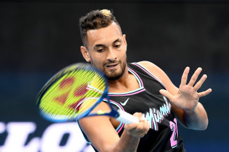 Nick Kyrgios gets back into the swing of things at practice in Brisbane on Wednesday.