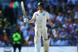 Steve Smith celebrates his 50 during day two of the fifth Ashes Test.