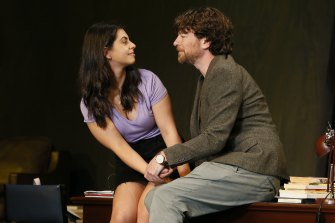 Izabella Yena and Daniel Spielman in Melbourne Theatre Company's Sexual Misconduct of the Middle Classes.