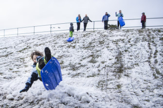 Snow falls at Blackheath oval in the Blue Mountains.