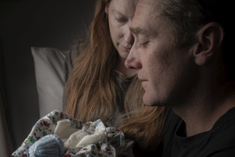 Samantha Rowe and Paul Lyons with son Noah, who was stillborn in October 2018.