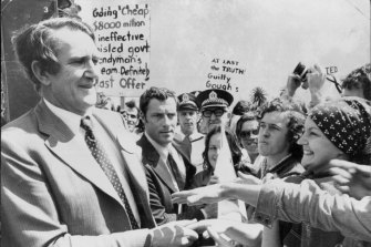 The Opposition leader Mr. Fraser meets supporters during the crisis.