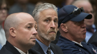 Entertainer and activist Jon Stewart lends his support to firefighters, first responders and survivors of the September 11 terror attacks at a hearing by the House Judiciary Committee.