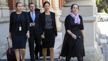 Lead prosecutor, Carmel Barbagallo (right) and her legal team.
