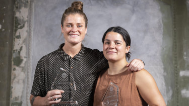 Outstanding performers: Davey and Prespakis at the AFLW Players' awards.