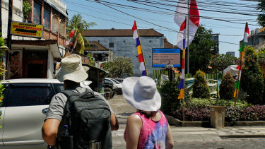 The site of the Sari Club, seen here in the background, which was destroyed in the 2002 Bali bombings.