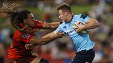 Disaster: Cam Clark's Waratahs slumped to a humiliating one-point loss to the Sunwolves in Newcastle.