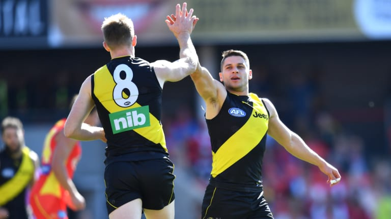 Riewoldt and Dion Prestia celebrate another one.