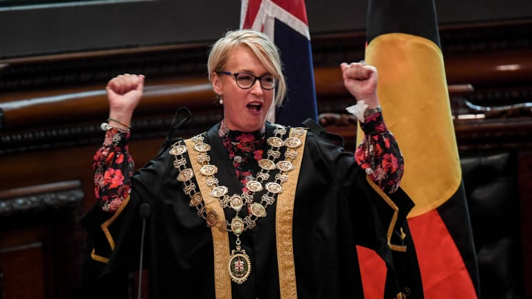 Sally Capp at her swearing-in ceremony last month.