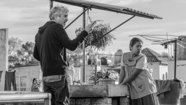 Alfonso Cuaron directs Yalitza Aparicio on the set of Roma.