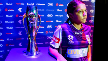 Marquee: Sam Kerr launches Perth Glory's campaign for the W-League trophy.