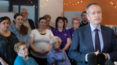 Bill Shorten has acknowledged aged-care workers are underpaid, but said any policy would have to wait until the completion of the royal commission.