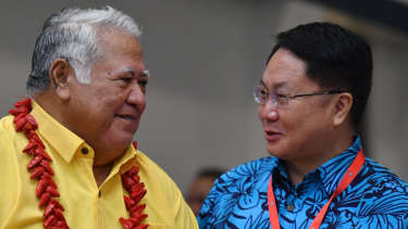 China's Special Envoy to the Pacific, ambassador Wang Xuefeng, pictured with Samoa's Tuilaepa Malielegaoi, sought to capitalise on the diplomatic tensions between Australia and its neighbours.