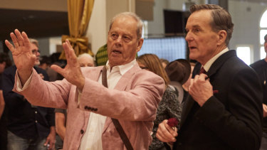 Director Bruce Beresford on the set of Ladies In Black with Nicholas Hammond who plays store manager Mr Ryder.