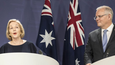 Prime Minister Scott Morrison (right) announces Ita Buttrose as ABC chairwoman on Thursday.