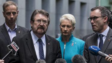 Senators Nick McKim, Derryn Hinch and Tim Storer with MP Kerryn Phelps.