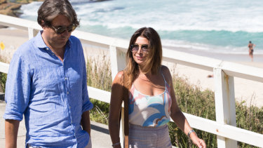Former client and friend Jodhi Meares arriving at the seaside memorial.