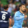 Kosta Barbarouses of Sydney FC celebrates after scoring a goal during the round 16 A-League match between the Melbourne Victory and Sydney FC at AAMI Park