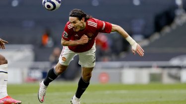 Edinson Cavani heads home for Manchester United against Tottenham Hotspur.