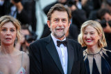 Film director Nanni Moretti on the red carpet at the Cannes Film Festival in July for Three Floors, with actors Margherita Buy, left, and Alba Rohrwacher.