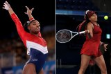 Gymnast Simone Biles and tennis player Naomi Osaka competing at the Tokyo 2020 Olympics.