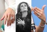 Rings composite. From left: Kim Kardashian, Elizabeth Taylor, J.Lo.