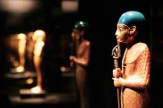 statue of Ptah, chief god of Memphis, recovered from the tomb of Egypt's King Tutankhamun is displayed at the Field Museum May 25, 2006 in Chicago, Illinois. The King Tut exhibit, which opens to the public tomorrow, is on loan from Egypt, part of a four-stop U.S. tour.  (Photo by Scott Olson/Getty Images) .