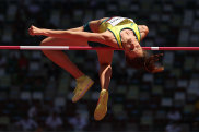Nicola McDermott competes in the women's high jump qualifying round on Thursday.