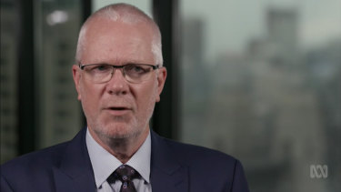 Former ABC chairman Justin Milne during an interview with Four Corners journalist Sarah Ferguson.