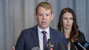 New Zealand Minister for COVID-19 Response Chris Hipkins, pictured with New Zealand Prime Minister Jacinda Ardern.