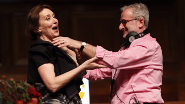 Outgoing radio host Jon Faine with Virginia Trioli at his last show at the Melbourne Town Hall.