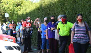 Residents queue for COVID testing in Sunbury on Wednesday morning.