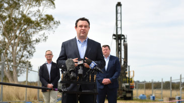 NSW Minister Stuart Ayres announces the site of a new airport metro station near Bringelly in 2020.