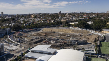 Construction site: The Allianz Stadium site in December. The NRL has been told work is already six months behind schedule.