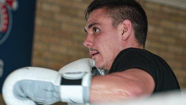 Tim Tszyu working out in his Rockdale gym ahead of his fight against New Zealander Bowyn Morgan.