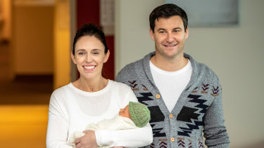 Jacinda Ardern and her partner Clarke leaving Auckland Hospital after the birth of their daughter, Neve.