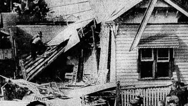 The Milnes' bombed home in Manning Street, Geelong, as seen by <i>The Age</i> in July 1936.