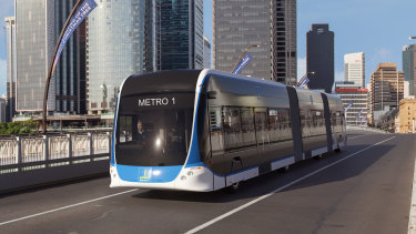 The Brisbane Metro vehicles will have three carriages and be fully electric.
