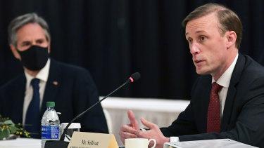 Secretary of State Antony Blinken (left) listens as National Security Adviser Jake Sullivan speaks at the opening session of US-China talks in Anchorage, Alaska.