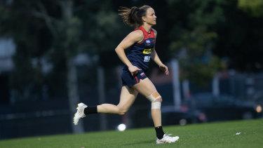 Daisy Pearce trains on Tuesday night